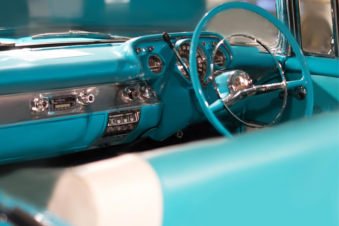 a classic car interior at Museum of Automobiles