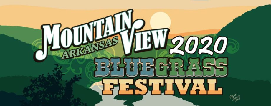 Logo of the Bluegrass Festival in sunset shades of green and pale oranges